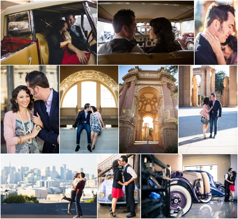 SAN FRANCISCO CAR MUSEUM POTRERO HILL LEGION OF HONOR ENGAGEMENT PHOTOS